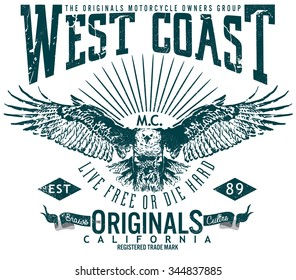 west coast original image design,tee graphics,vintage graphics for t-shirt