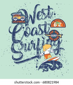 West coast surfing boy - Funny surfer vector print for children wear with embroidery patches