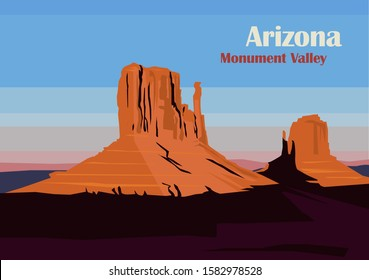 West and East Mitten Butte in Monument Valley, Utah, United States. Vector illustration