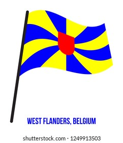 West Flanders Flag Waving Vector Illustration on White Background. Provinces Flags of Belgium.