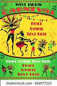 West Indian carnival poster with beautiful Caribbean girls and a band of Reggae musicians in costume dancing in this versatile vector illustration.