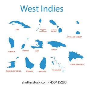 West Indies - vector maps of countries