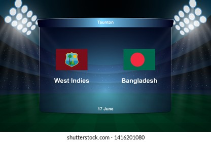 West Indies vs Bangladesh cricket scoreboard broadcast graphic template