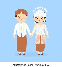 West Java Sundanese Indonesia Wedding Couple, cute Indonesian Sunda traditional clothes costume bride and groom cartoon vector illustration