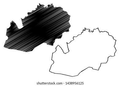 West Kazakhstan Region (Republic of Kazakhstan, Regions of Kazakhstan) map vector illustration, scribble sketch West Kazakhstan map
