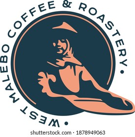 West Malebo Coffee and Roastery Logo with women farmer handle coffee making process illustration