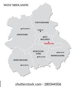 west midlands administrative map