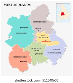 west midlands administrative and political map