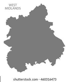West Midlands England map grey