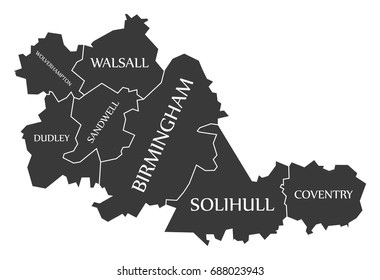 West Midlands metropolitan county England UK black map with white labels illustration