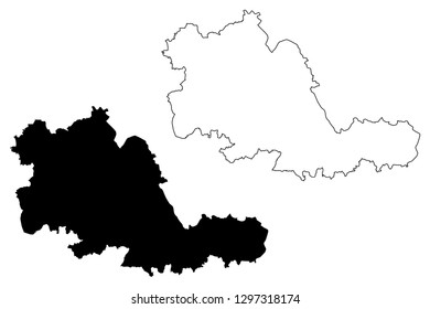 West Midlands (United Kingdom, England, Metropolitan county) map vector illustration, scribble sketch West Midlands (county) map