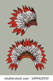 West navajo man chieftain adornment warbonnet on white background. rough festival bonnet. Bright color outline hand drawn picture logo pictogram emblem in antique art doodle graphic style pen on paper