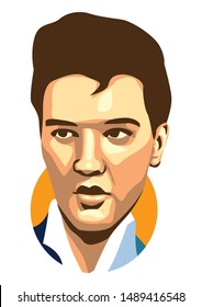 west nusa tenggara, Indonesia- august 27, 2019: elvis presley vector sketch illustration, isolated style