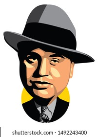 west nusa tenggara, indonesia - August 31, 2019: caricature illustration al capone, isolated style