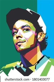 west nusa tenggara, indonesia - august 24, 2020: valentino rossi vector illustration, isolated style, eps 8