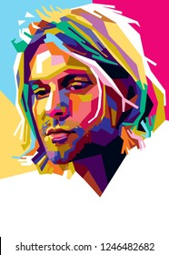West Nusa Tenggara Indonesia Desember 2th 2018 Kurt Cobain Vocalis Group Band Nirvana. Vector Illustration.
