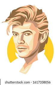 west nusa tenggara, Indonesia- january 16, 2020: caricature david bowie, vector illustration, isolated style. eps 8.