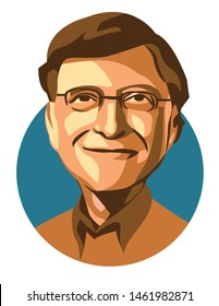 west nusa tenggara, Indonesia- july 2019: bill gates vector sketch illustration, isolated style