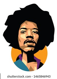 west nusa tenggara, Indonesia- july 2019: jimi hendrix vector sketch illustration, isolated style