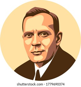 west nusa tenggara, Indonesia- july 20, 2020: edwin hubble vector sketch illustration, isolated style, eps8