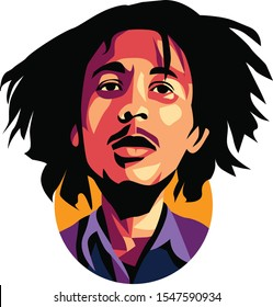 west nusa tenggara, Indonesia- november 1, 2019: caricature bob marley, vector illustration, isolated style. eps 10.