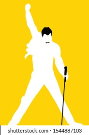 west nusa tenggara, Indonesia- october 29, 2019: freddie mercury vector sketch illustration, flat design, silhouette, isolated style