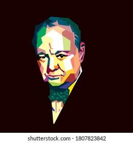 west nusa tenggara, indonesia-September 02,2020: Winston Churchill vector sketch illustration, isolated style