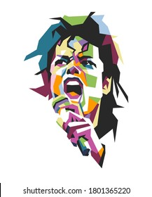 west nusa tenggara,Indonesia-August 24,2020: michael jackson colorful art with white background