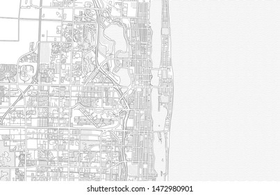 West Palm Beach, Florida, USA, bright outlined vector map with bigger and minor roads and steets created for infographic backgrounds.