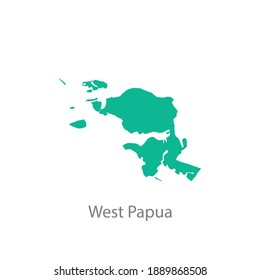 west papua province green map vector
