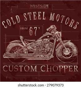 west side motorbike custom chopper vintage tee graphic design