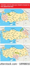 the west, south and east fronts fought in the liberation war turkish history map