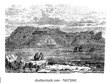 West view of the Ruins of the Temple of Zeus Belus in Babil, Iraq, during the 1890s, vintage engraving. Old engraved illustration of the Ruins of the Tower of Belus in Babil. Trousset encyclopedia