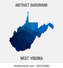 West Virginia map in geometric polygonal, mosaic style.Abstract tessellation, modern design background, low poly. Vector illustration.