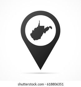 West Virginia Map on location pin. Map pointer isolated on a white background. Conceptual vector illustration.