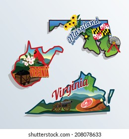 West Virginia, Virginia, Maryland United States vector illustrations
