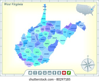 West Virginia State Map with Community Assistance and Activates Icons Original Illustration