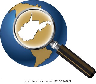 West Virginia State Map Enlarged with Magnifying Glass on Globe