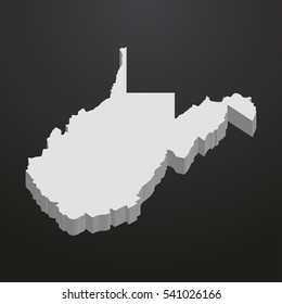 West Virginia State map in gray on a black background 3d