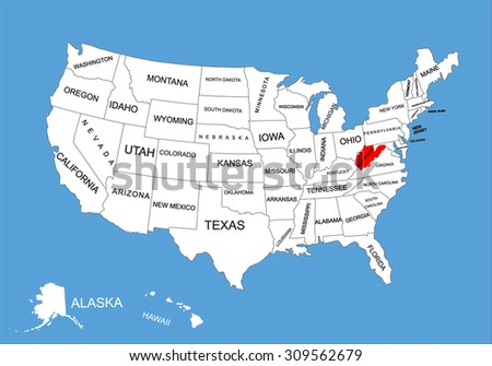 West Virginia State USA Vector Map Stock Vector (Royalty Free ...