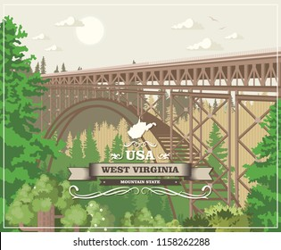 West Virginia travel postcard. USA colorful poster