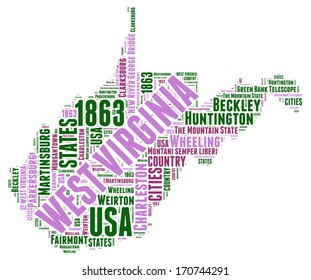 West Virginia USA state map vector tag cloud illustration