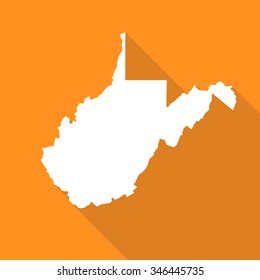 West Virginia white map,border flat simple style with long shadow on orange background