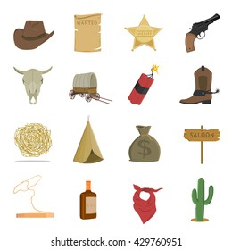Western 16 vector icon set in cartoon style for web design.