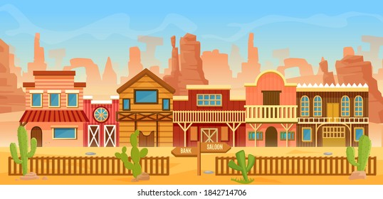 Western American town in desert landscape vector illustration. Cartoon flat scenery in wild west of America, old houses with home, bar saloon or bank for cowboys, cactuses on mountain rocks background