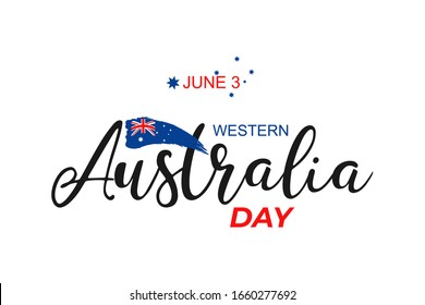 Western Australia Day June 3, greeting card. Australian flag grunge vector illustration  with hand drawn calligraphy lettering and watercolor Australia nation symbol on white background. Vector