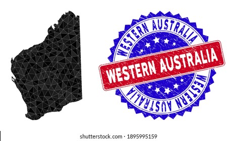 Western Australia map polygonal mesh with filled triangles, and scratched bicolor stamp seal. Triangle mosaic Western Australia map with mesh vector model, triangles have randomized sizes,