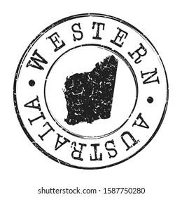 Western Australia Map Postmark. Silhouette Postal Passport. Stamp Round Vector Icon. Vintage Postage Design.