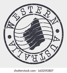 Western Australia Stamp Postal. Map Silhouette Seal. Passport Round Design. Vector Icon. Design Retro Travel.