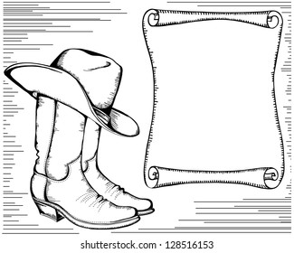 989b7017d83 western background with cowboy boots and scroll for text.Graphic image